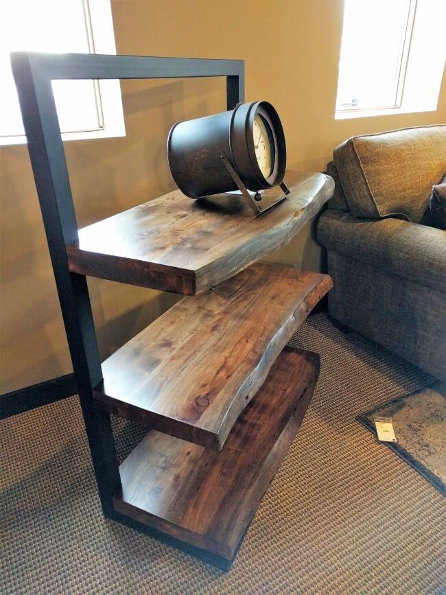 Walnut Live Edge Amp Steel Shelf