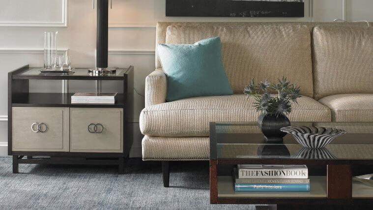Melrose_sofa_Matthews_Sq_cocktail_table_Farrington_lamp-table_mid-centure_modern