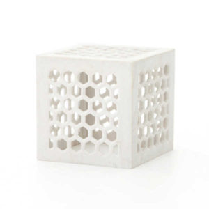 Brixton carved marble cube