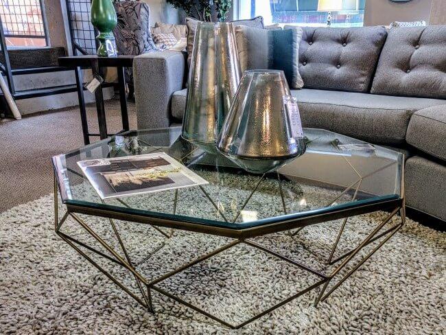 IMAR-54-BRS Geometric Coffee Table - antique brass