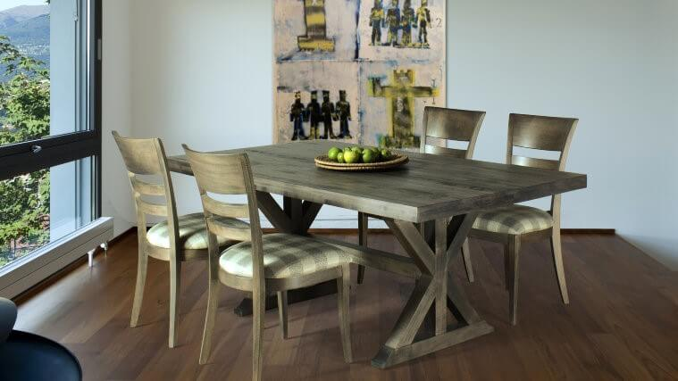 Mondo Trestle Table 28SU dining chairs