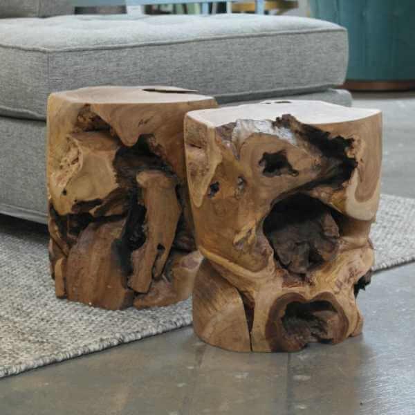 Natural Teak Stools|by Design Des Moines