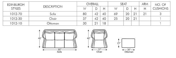 edinburgh sofa chair dimensions