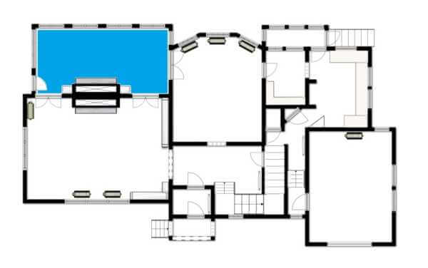 restoration floor plan with solarium highlighted